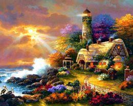 Wholesale-Diy diamond painting kits- 40x30cm lighthouse u0101- full diamond rhinestone pasted painting sticker