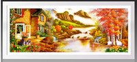 autumn scenery pictures - Full Embroidery Diy Diamond Painting Crystal Set Landscape Autumn Scenery Round Diamond Mosaic Needlework Picture of Rhinestones