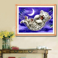 Wholesale Beauty Stylish Handmade Counted Cross Stitch Kit Baby Tiger Design cm Home Decoration Embroidered Cloth Livingroom Gift