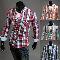 Cotton,Polyester best mens dress shirts - mens checked shirts long sleeve personalized slim shirt best brand checked dress shirt for men designer