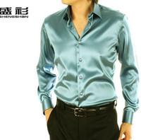 Casual Shirts Polyester,Spandex Turn-down collar Wholesale-Free shipping Emulation silk Men casual shirt men long sleeved shirt for men clothing