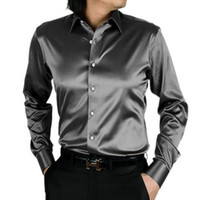 Casual Shirts Acetate Turn-down collar Wholesale-2015 camisa masculina men shirts silk shiny casual mens dress shirts Stylish fashion Shirts slim men long sleeve shirt SMC033