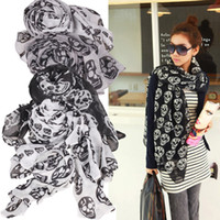 Man bali scarves - Indeed Wild Single Product Fashion Women Beauty Bali Yarn Skull Skeleton Style Scarf Shawl Wrap L3FE