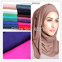 Acrylic cotton scarves shawls - Ladies jersey cotton twilly maxi infinity solid color scarf shawl muslim hijab underscarf