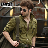 army fatigue shirts - fashion army military fatigues long sleeve men casual shirt Camouflage patchwork canvas outdoor casual top