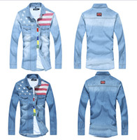 american flag long sleeve - Men s Jeans Shirt Spring American Flag Denim shirts Men Splicing Man shirt fashion Long Sleeve Clothing S XL
