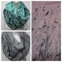 Acrylic animal infinity scarf - New Fashion Winter Grey Blue Pink Bird On Trees Bird Scarf Infinity Scarfs Loop Snood For Woman Ladies