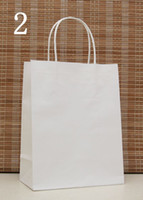 Cheap Wholesale-Free Shipping 27*21*11cm White Kraft Paper Gift Bag,Festival gift bags,Paper bag with handles, wholesale price 50pcs lot