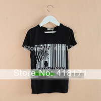 bar tee shirts - For Promotion Summer Children Bar Codes Zebra Printed Short Sleeve T Shirts Modal Cotton Kids tops White amp Black Child Tee