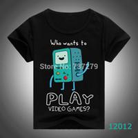 Precio de Niños juegos niños-Mayor-Manera Kid camisetas del verano Aventura Tiempo BMO que quieren jugar juegos de vídeo Beemo camisetas Danza con Finn Jake Niños Niñas Top