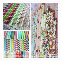 flower paper straws - promotion flower floral Chevron Striped and Polka Dot Drinking Paper Straw Colorful Paper Straws