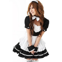 Cheap Wholesale-hot sale good quality black white Novelty cosplay Cartoon character lace Maid dress Costumes with Hairpin drop shipping 224