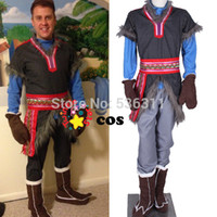 Anime Costumes Full Adult Wholesale-2015 halloween costumes for men Disnye new style snow grow Kristoff cosplay costume cartoon character adult men cosplay costumes