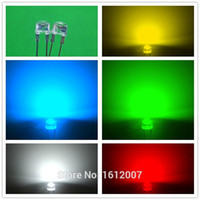 Wholesale Led mm W Straw Hat High Power LED x Colores Red Green Yellow White Blue Light Urtal Bright Led Lamp F8MM
