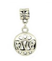 Wholesale silver D Hollow out LOVE bead European Beads Fits Silver Charm pandora Bracelets necklaces pendant