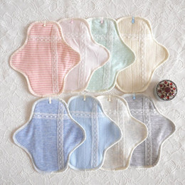 Wholesale Random Color Ultra thin Organic Cotton Cloth Menstrual Pad Sanitary Napkin Reusable Washable Maternity Pads YT0094 salebags
