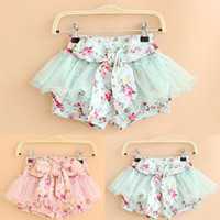 Wholesale Girls Floral Mesh Pastoral Style Shorts Kids Children Flower Bowknot Short Pants Baby Girl Summer Clothing Free Drop Shipping