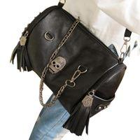Cheap Wholesale-Skull bags map 2015 new fashion handbag women's designer bag shoulder tote lovely messenger rivet black for gril Free shipping