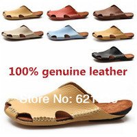Wholesale New Summer men s fashion sandals men sandals tunnel submarine genuine leather Cow leather slippers sandals