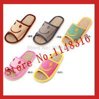 Booties Unisex Summer Wholesale-2015 New summer Slippers smile linen slippers shoes for men and women couple home indoor floor slippers bottom family slippers