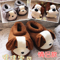 Unisex the packaging of shoes - Lovers male Women plush cartoon slippers winter thermal cotton padded shoes thickening of the whole package with