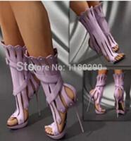 al por mayor botas de tacón de color púrpura-Venta al por mayor 2015-más nuevos zapatos sandalias de tacón Mujeres Populares Palacio Jarrón Shaping púrpura Gladiador Sandalias Botas de estilete atractivos del partido