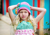 Crochet baby hats flowers & leaves 0- 8Y girl beanie colorful...