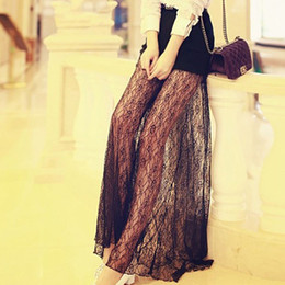 Wholesale Fashion summer long design lace transparent gauze sexy cutout meat lace bust skirt full skirt