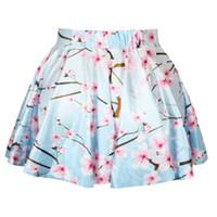 asian skirt - Top Selling Women Saias Vintange High Waist Asian Flower Print Short Mini Skirt Skater Pleated funky shirts Falda
