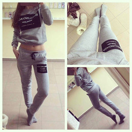 Wholesale- Women Sports Costumes Tracksuits Ladies Printed Letter Sweatshirt Crewneck Long-sleeve Sportswear 2 Piece Set