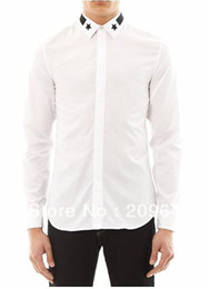 Wholesale-New Fashion Men White Cotton Dress Shirt Long Sleeve Black Star Trim Collar Custom Made Free Shipping MSH002