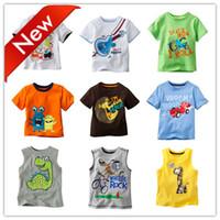 Unisex Spring / Autumn O-Neck Wholesale-2015 New Summer baby clothing cartoon Cute O-neck short sleeves t shirt Children's tees