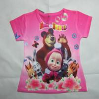 Wholesale New Arrival masha and the bear Boys and girls T shirt boys nova top t shirt for kids baby summer cartoon children clothing