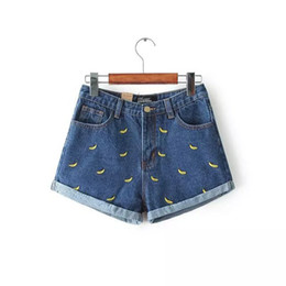 Wholesale new Korean version of the summer and banana flower embroidery cotton curling plus size casual female waist denim shorts
