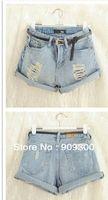 Cheap Wholesale-New Retro Women Girls High Waist Ripped Flange Hole Wash White Jeans Denim Shorts women