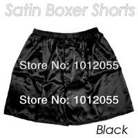 Women Elastic Waist Polyester Wholesale-Free postage 1Pc Black Sexy silky Soft satin Men's or Woman's boxer shorts Underwear Homewear Underpants Boxers