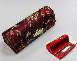 Empty Lipstick Tube Lip gloss Packaging cheap silk fabric Metal clasp Lip Balm Boxes 12pcs llot Free