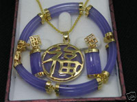 Asian & East Indian blue jade earrings - Stunning Purple jade necklace Pendant Bracelet earring