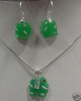 Jade   GREEN JADE ELEPHANT EARRING NECKLACE set