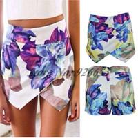 Skinny asymmetrical skort - Fashion LOTUS Flower Print Skort Asymmetric Tiered Short Pants Women Brand Pom Asymmetrical Skirt Shorts Summer Hot