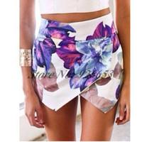 asymmetrical skort - Fashion LOTUS Flower Print Skort Asymmetric Tiered Short Pants Women Brand Pom Asymmetrical Skirt Shorts Summer Hot