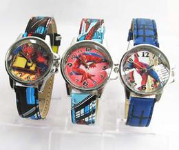 Boys 50pcs Spiderman Boy Kids Cartoon Leather Watches Children Teenagers School Watch Fashion Gifts