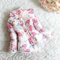 Wholesale Baby Girls Winter Warm Coat Thickened Floral Stand Collar Down Jacket Snowsuit