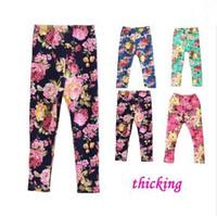 Wholesale Girls Thickening Leggings Spring Autumn Winter New Fashion Children s Years Cotton Warm Pants Kids Flower Print
