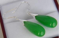 Wholesale GREEN JADE DROP DANGLE EARRINGS pc