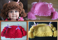 Spring / Autumn baby cabbage patch - Handmade Crochet Baby cap Girls Wigs Cabbage Patch Hat Infant Toddler Newborn Children s Beanie Photographic