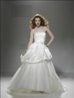 2010 wedding dresses - Strapless Sweetheart Pleats Satin Tulle A Line Chapel Train Justin Alexander Wedding Dress