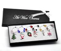 wine glass charm - Box Handmade Christmas Wine Glass Charms Mixed Table Decorations W Box x25mm x25mm