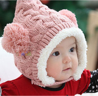 Cheap Wholesale-Baby hat cashmere yarn warm hat child ear protector cap hat style cap