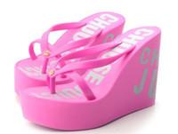 Wholesale Juciy summer flip flops ultra high wedges platform flip flops women s platform beach slipper